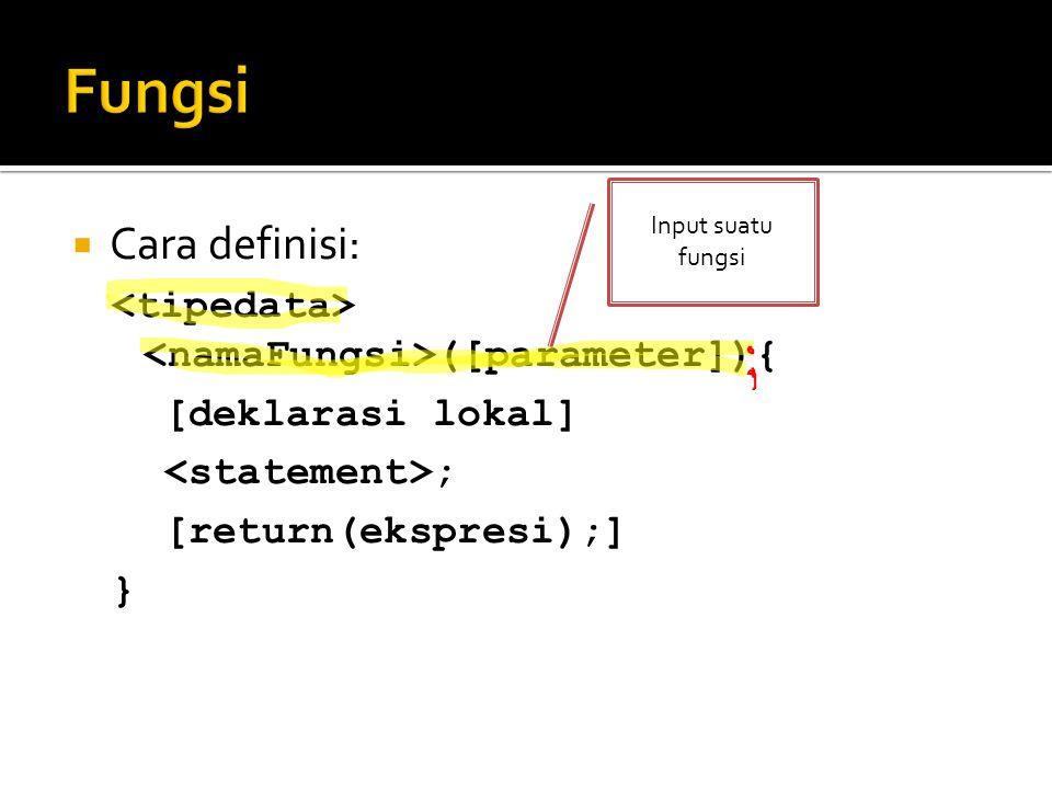 Fungsi Input suatu fungsi. Cara definisi: <tipedata> <namaFungsi>([parameter]){ [deklarasi lokal]